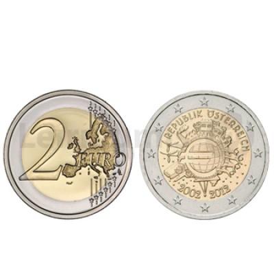 2 Euros 10 Aniversário da Moeda Euro Austria 2012