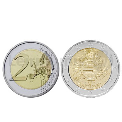 2 Euros 10 Aniversário da Moeda Euro Irlanda 2012
