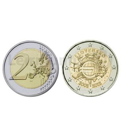 2 Euros 10 Aniversário da Moeda Euro Eslováquia 2012