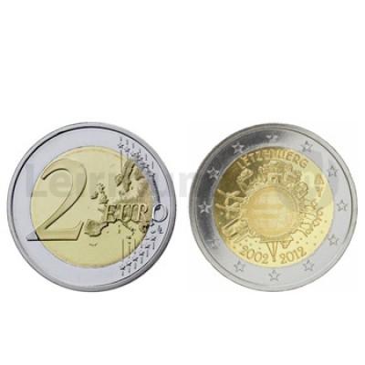2 Euros 10 Aniversário da Moeda Euro Luxemburgo 2012
