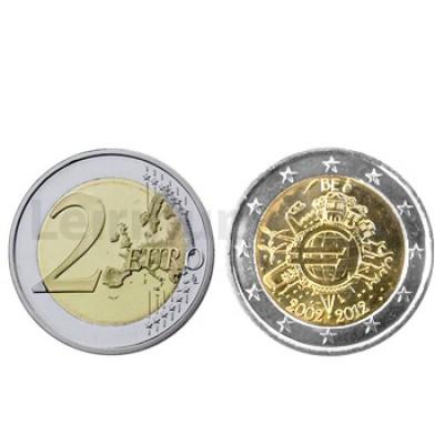 2 Euros 10 Aniversário da Moeda Euro Bélgica 2012