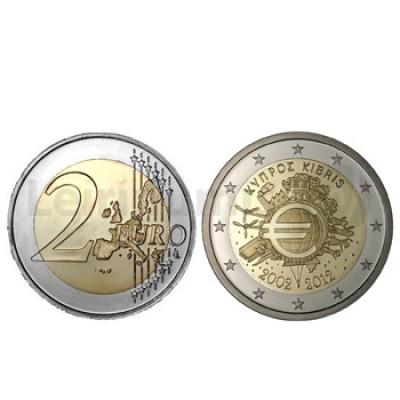 2 Euros 10 Aniversário da Moeda Euro Chipre 2012