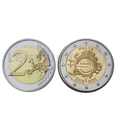 2 Euros 10 Aniversário da Moeda Euro Malta 2012