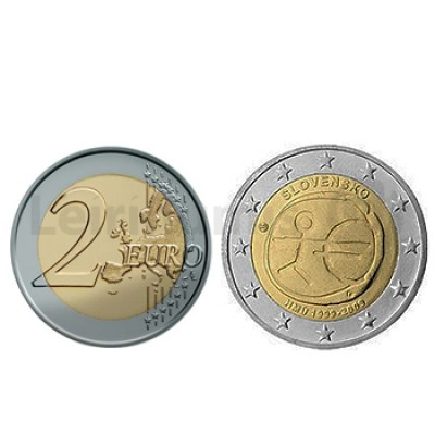 2 Euros 10 Aniversário da UEM Eslováquia 2009