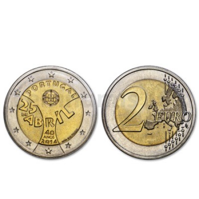 2 Euros 40 Aniversário do 25 Abril Portugal 2014 Normal