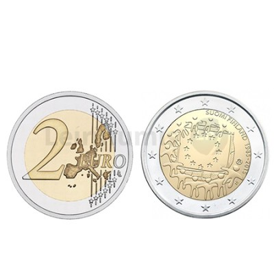Moeda 2 Euros 30 Anos da Bandeira da Europa Finlândia 2015