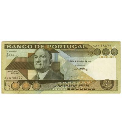5000 Escudos - Portugal 4-6-1985 Bela