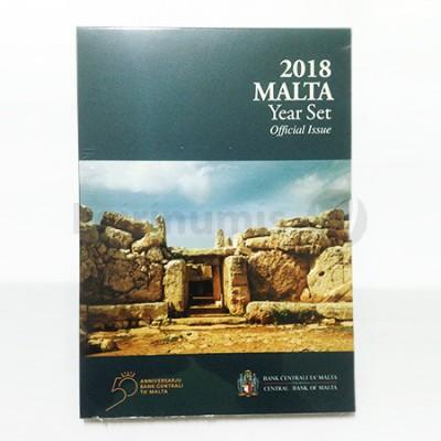 Carteira BNC Malta 2018 c/ 9 moedas 1 cent a 2€ normal e 2€ Comemorativa
