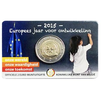 Moeda 2 Euros Ano Europeu para o Desenvolvimento - Belgica 2015 Coin Card