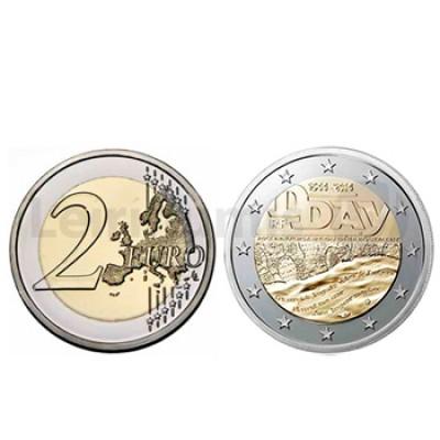 """2 Euros Desembarque  Normandia França 2014 """"Dia D"""""""