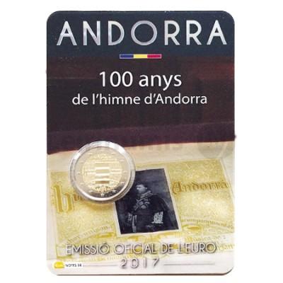 Moeda 2 Euros 100 Anos Hino Andorra 2017