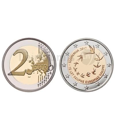 Moeda 2 Euros Eslovénia 2017 10º Aniversario Adesaõ Euro
