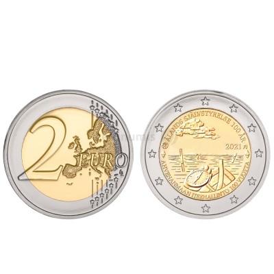 Moeda 2 Euro 100 Anos da Autonomia da Ilha de Aland Finlândia 2021