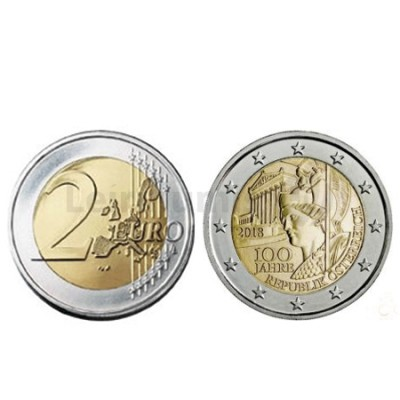 Moeda 2 Euros 100 Anos da Republica de Áustria 2018