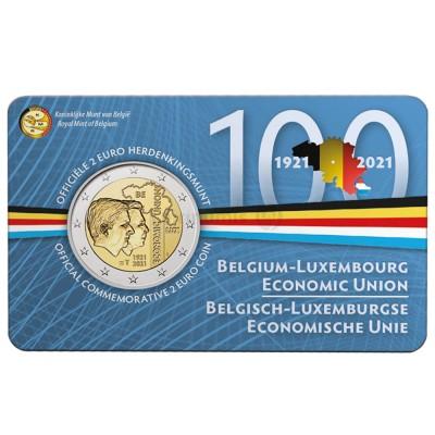 Moeda 2 Euro 100 Anos União Económica Belga-Luxemburgo 2021
