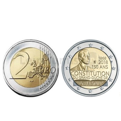 Moeda 2 Euro 150 Anos da Constituição do Luxemburgo 2018