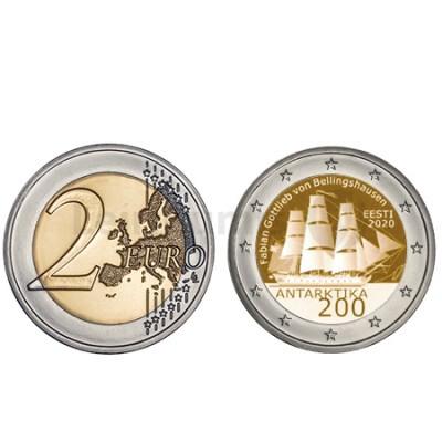 Moeda 2 Euro 200 Anos Descoberta da Antártida Estónia 2020