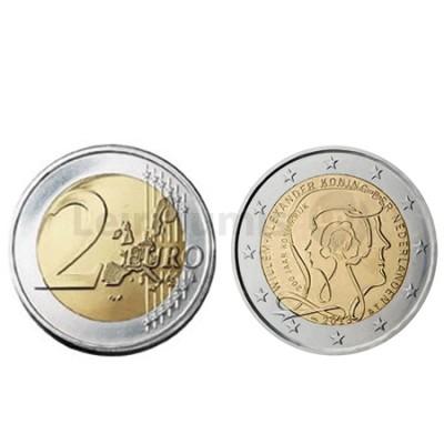Moeda 2 Euros 200 Anos de Reinado Holanda 2013