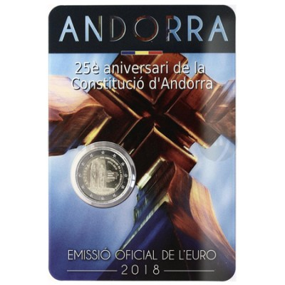 Moeda 2 Euros 25º Aniversário Constituição Andorra 2018