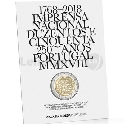 Moeda 2 Euro 250 Anos Imprensa Nacional Portugal 2018 BNC