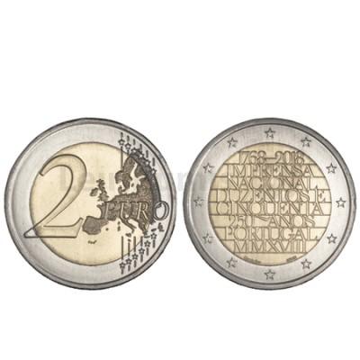 Moeda 2 Euro 250 Anos Imprensa Nacional Portugal 2018