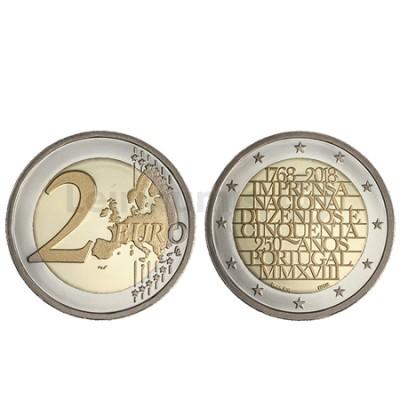 Moeda 2 Euro 250 Anos Imprensa Nacional Portugal 2018 Proof