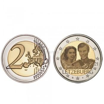 Moeda 2 Euro 40º Aniversário Casamento de Maria Teresa e Henry Luxemburgo 2021 holograma