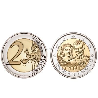 Moeda 2 Euro 40º Aniversário Casamento de Maria Teresa e Henry Luxemburgo 2021 relevo