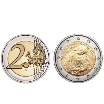 Moeda 2 Euro 450 Anos Nascimentos Caravaggio San Marino 2021