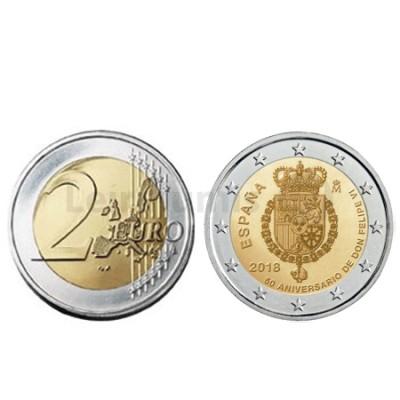 Moeda 2 Euro 50 Anos Rei Filipe VI Espanha 2018