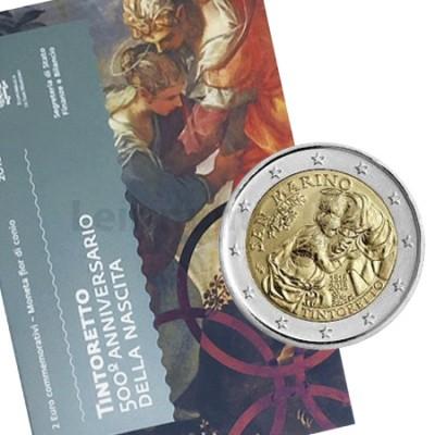 Moeda 2 Euro 500º Aniversário de Tintoretto San Marino 2018