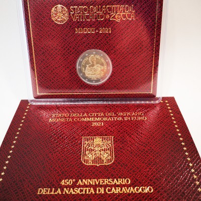 Moeda 2 Euros 450 Anos Nascimento Caravágio Vaticano 2021