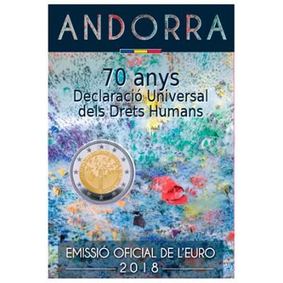 Moeda 2 Euros 70 Anos Declaração Universal Direitos Humanos Andorra 2018