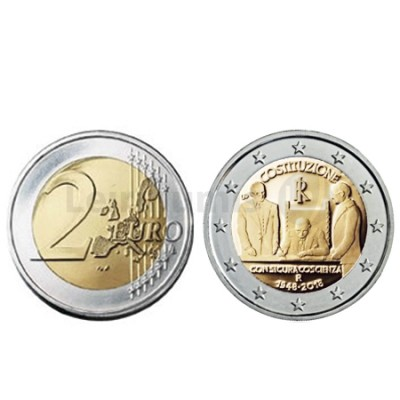 Moeda 2 Euros 70 Anos da Constituição de Italia 2018