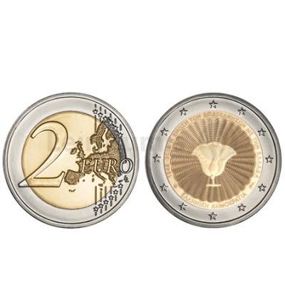 Moeda 2 Euros 75º Aniversário da União de Dodecanese Grécia 2018