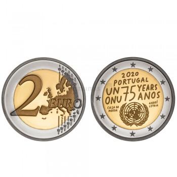 Moeda 2 Euro 75 anos da ONU Portugal 2020 Proof