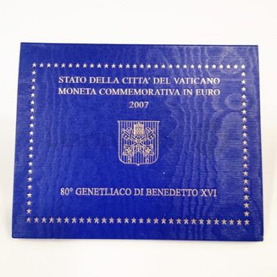 Moeda 2 Euros 80ª Aniversário do Papa Bento XVI Vaticano 2007