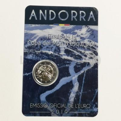 Moeda 2 Euros Campeonato do Mundo Esqui Alpino Andorra 2019