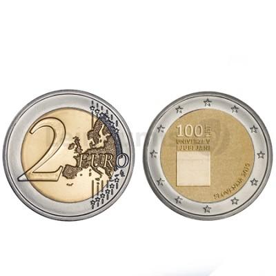 Moeda 2 Euros Centenário Fundação da Universidade de Ljublj Eslovénia 2019
