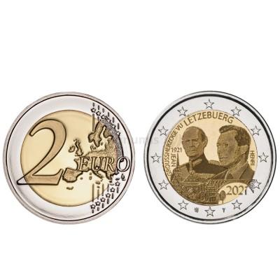 Moeda 2 Euro Centenário Nascimento Grão Duque Jean Luxemburgo 2021 holograma