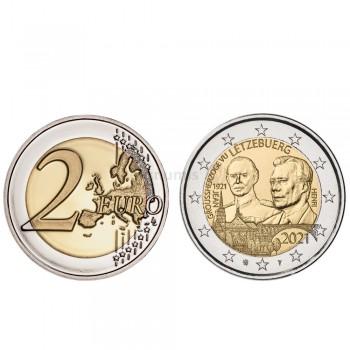 Moeda 2 Euro Centenário Nascimento Grão Duque Jean Luxemburgo 2021 relevo