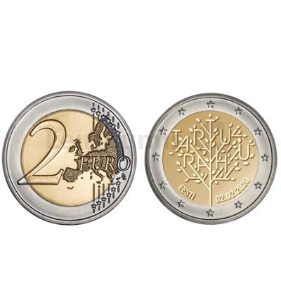 Moeda 2 Euro Centenário da Paz Tartu Estónia 2020