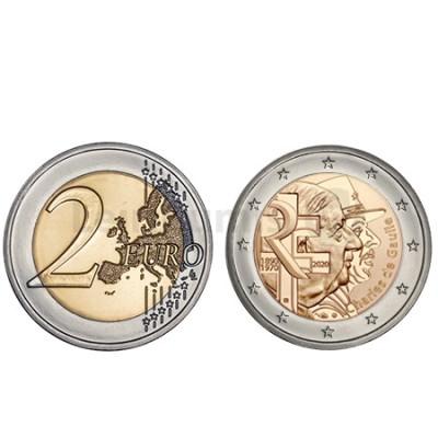 Moeda 2 Euro Charles de Gaule França 2020
