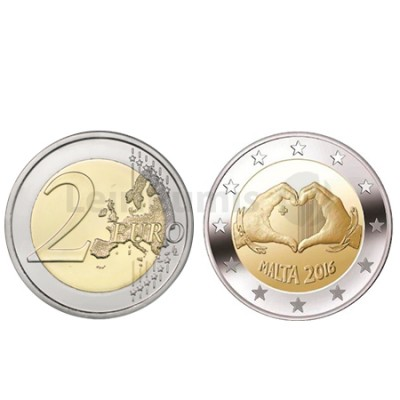 """Moeda 2 Euros Malta 2016 """"Crianças e Solidariedade Amor """""""