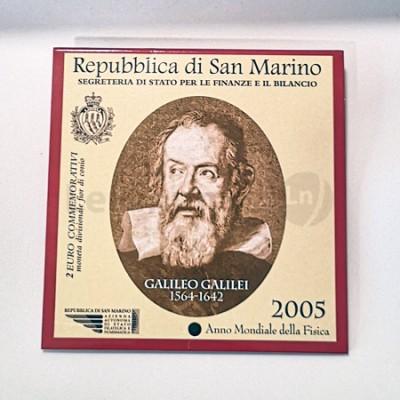 Moeda 2 Euro Galileu Galilei San Marino 2005