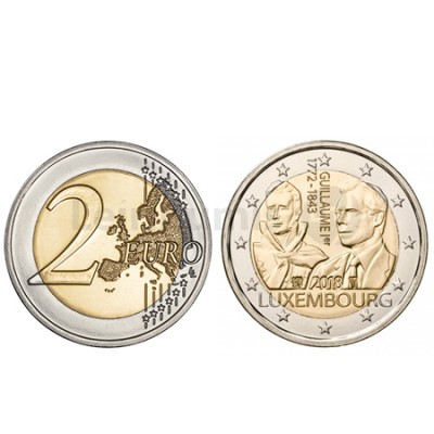 Moeda 2 Euro Guilherme I do Luxemburgo 2018