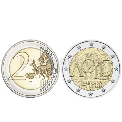 Moeda 2 Euros Idioma Lituano - Lituânia 2015