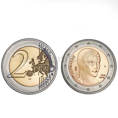 Moeda 2 Euros Leonardo da Vinci de Itália 2019