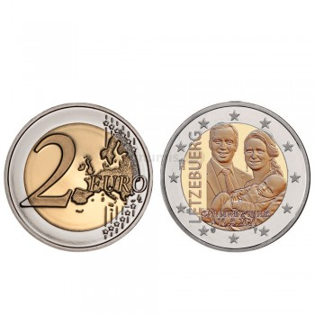 Moeda 2 Euro Nascimento Grão Duque Carlos Luxemburgo 2020 relevo