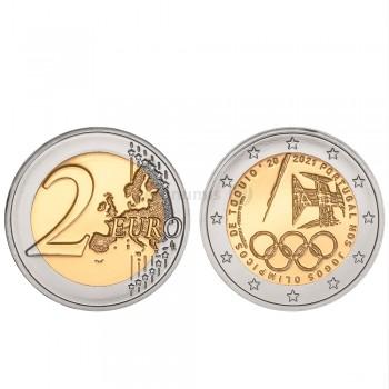 Moeda 2 Euros Portugal nos jogos Olímpicos de Tóquio Portugal 2021 BNC